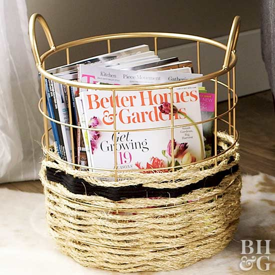 Rope-Wrapped Storage Basket filled with magazine