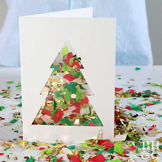 DIY Confetti Card. Homemade Christmas Bird Card
