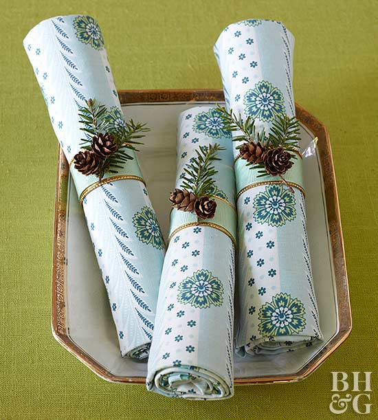 Patterned Pinecone Napkins