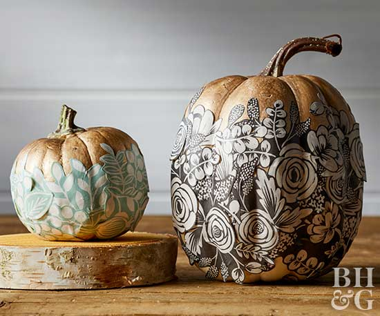 metallic pumpkins, pumpkins, painted pumpkins