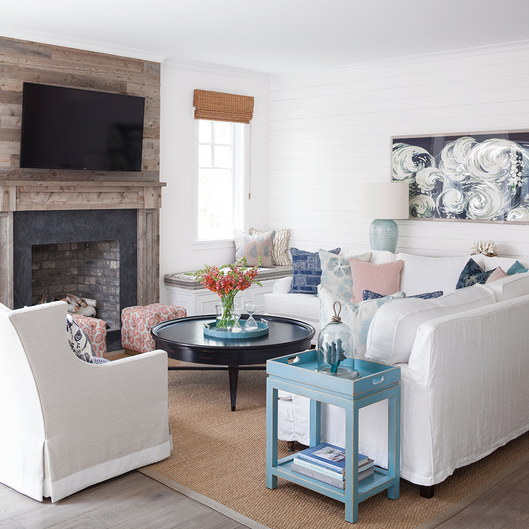 reclaimed wood fireplace of family room