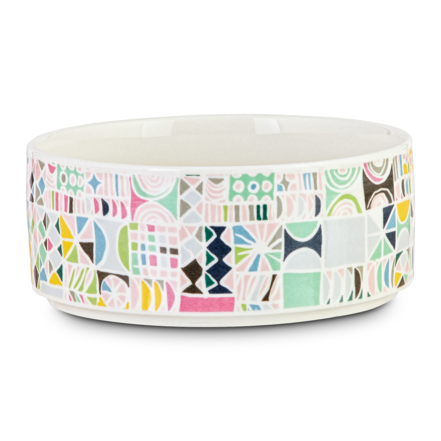 Ceramic pet food bowl with colored patterns