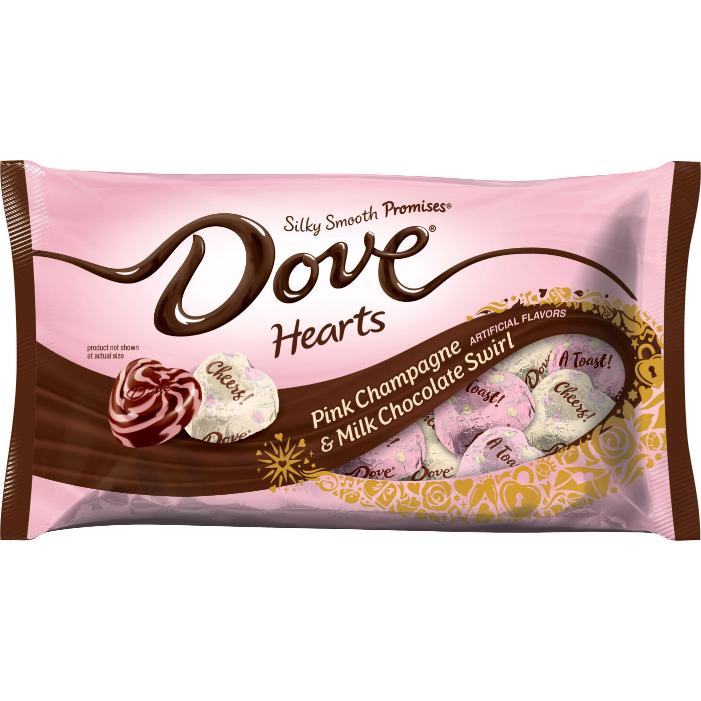 Dove Pink Champagne Milk Chocolate Swirl Hearts