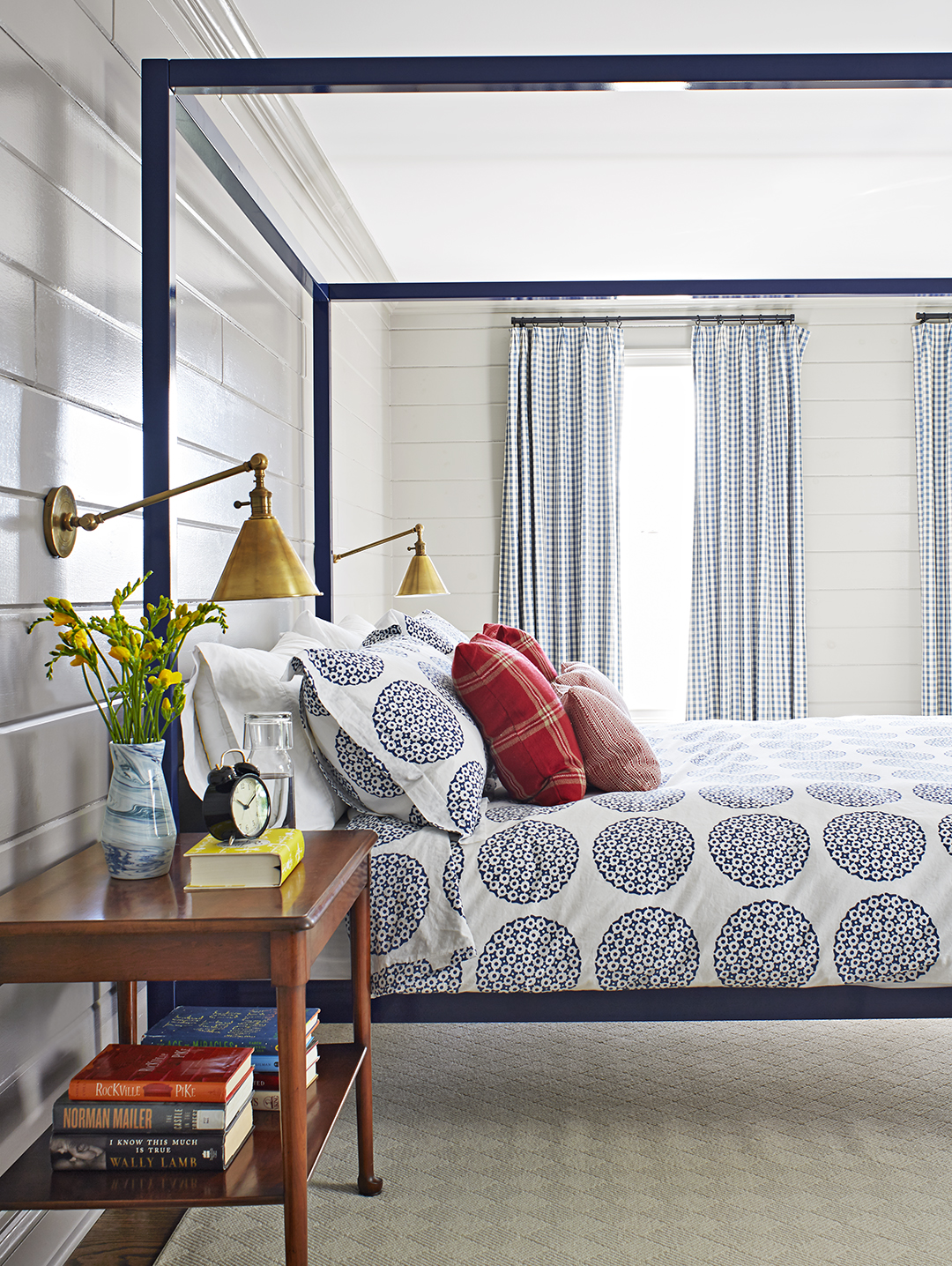 farmhouse bedroom post bed