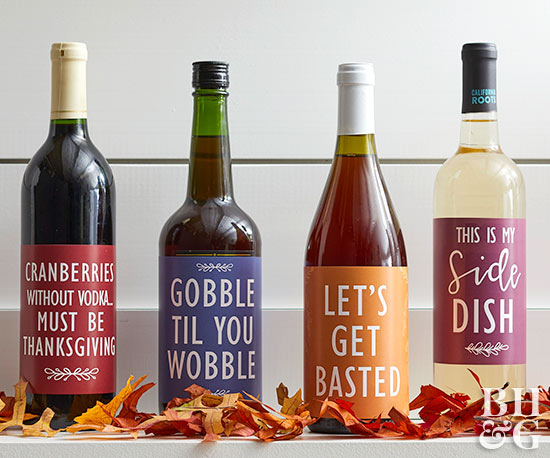 Thanksgiving wine labels