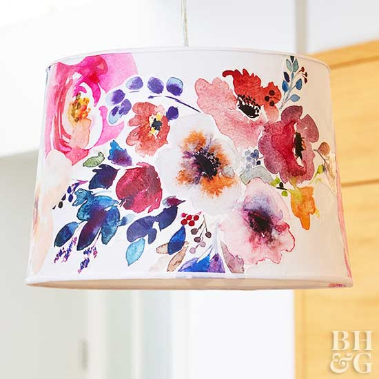 Dress Up Your Drum Shade with Watercolor Fabric