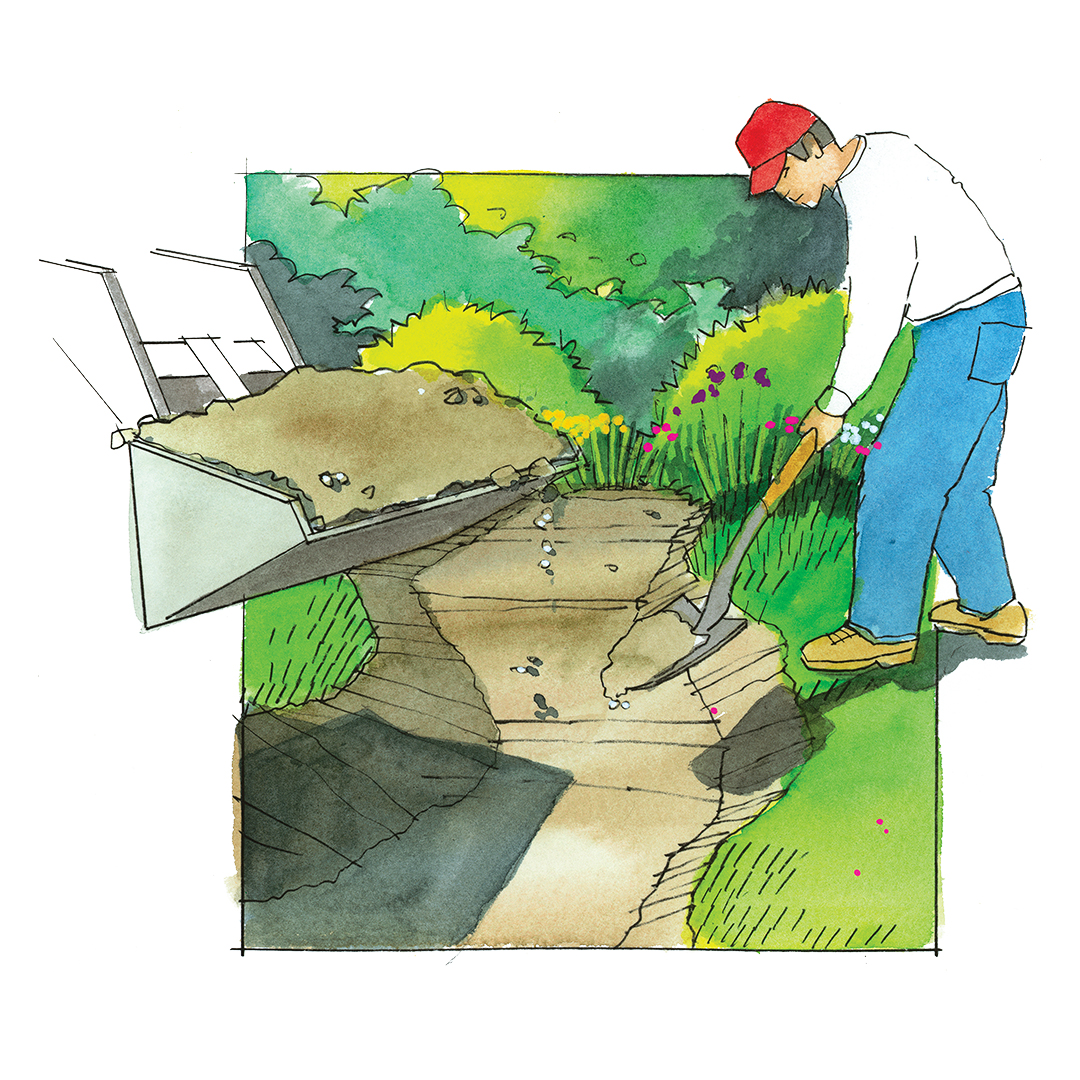 dry creek illustration how-to digging trench with shovel backhoe
