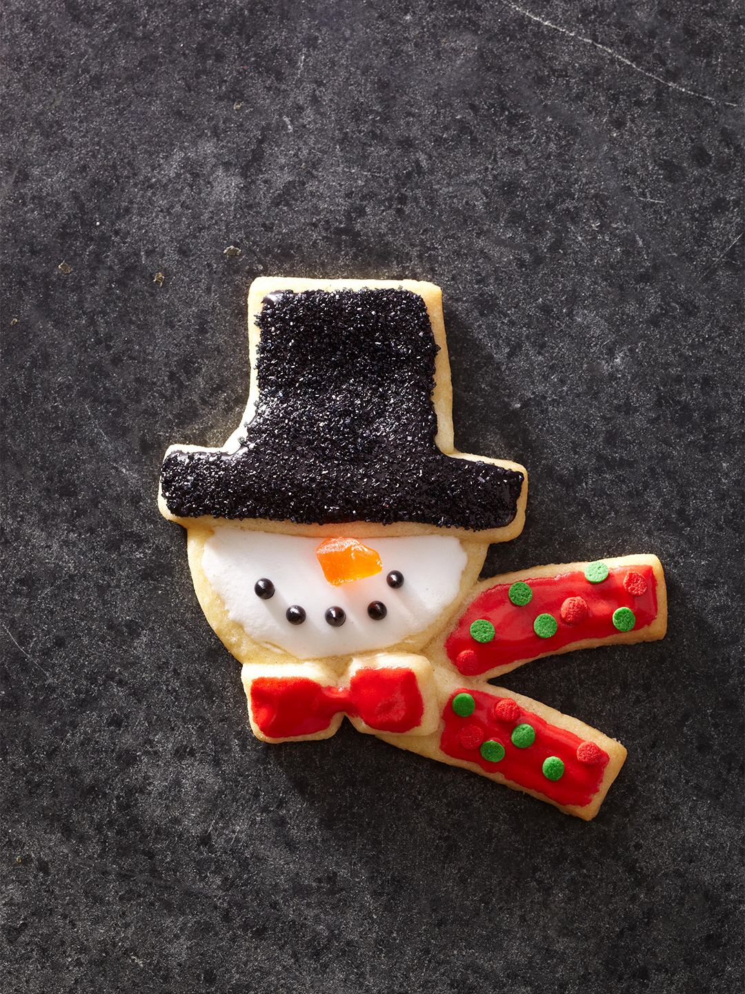 Top-Hat Snowmen Cookies with bowtie and scarf