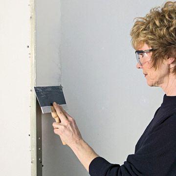 Use A 6 Inch Drywall Knife To Ly The First Coat Of Compound Corner Blade Glides Along Raised Bead And Wall