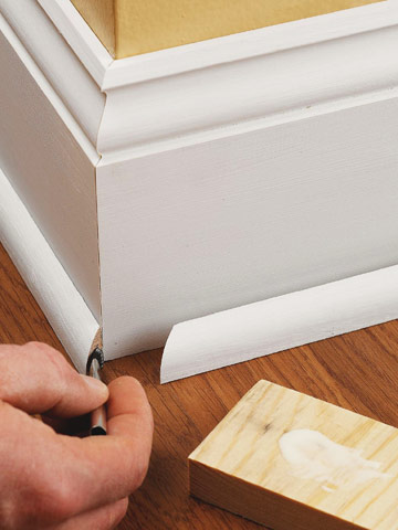Outside Corners Of Base Shoe Molding Are Miteredu2014like The Baseboard Itself.  Adding A Touch Of Glue Is Inexpensive Insurance That The Joint Will Stay  Closed.