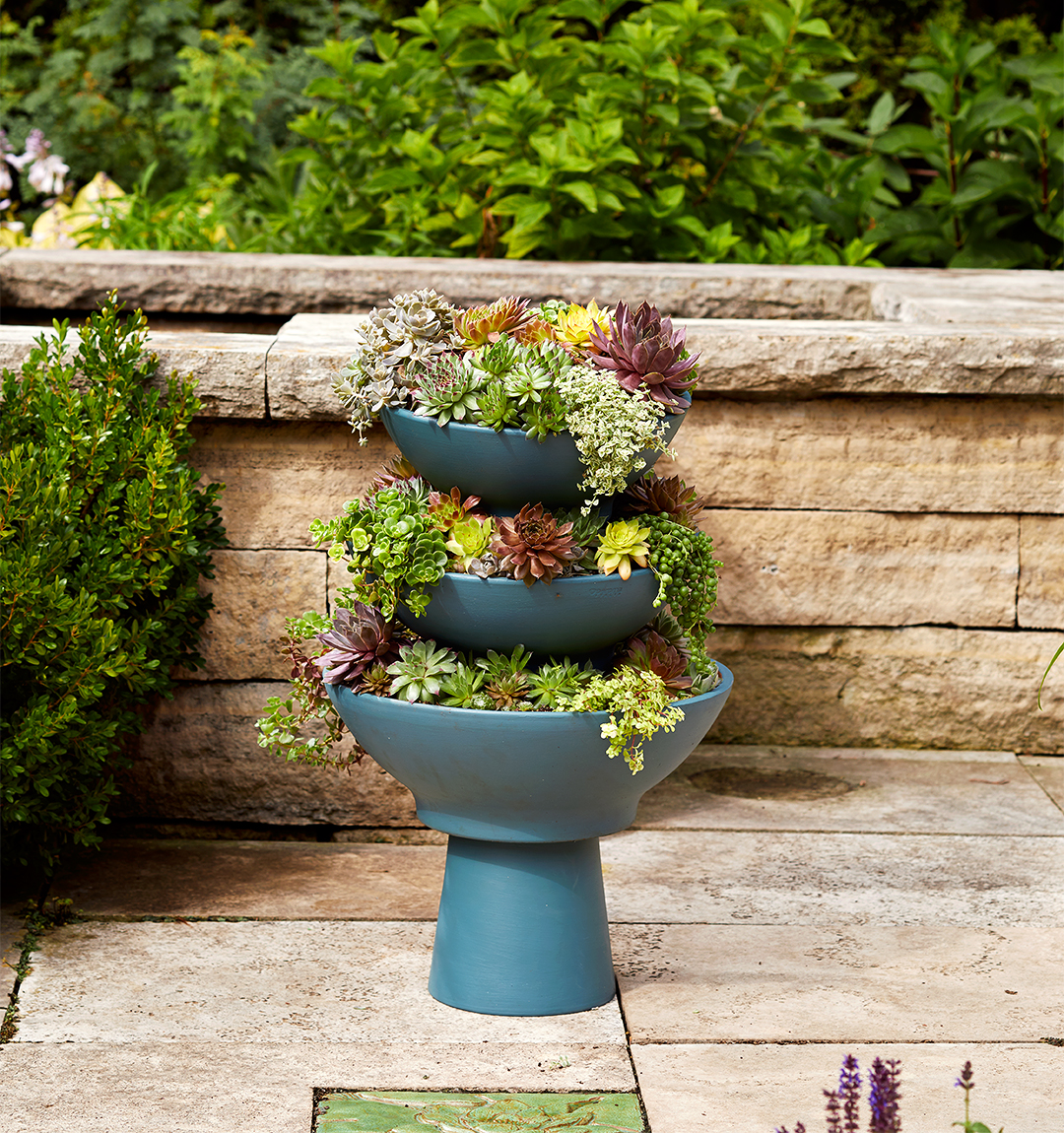 succulent tower how-to painted terra cotta pots step 6