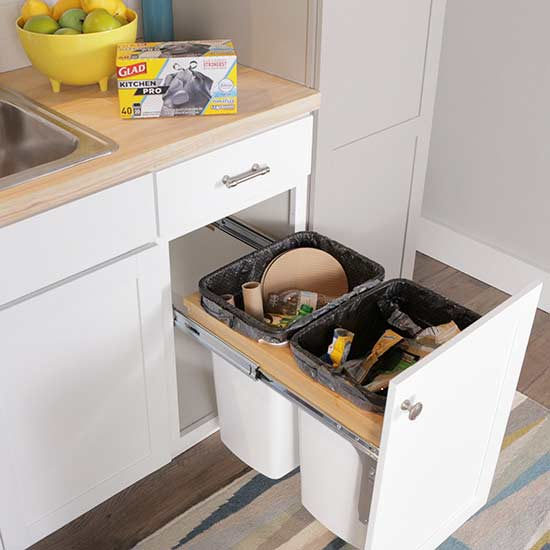 Create a diy pull out trash cabinet better homes gardens - Better homes and gardens trash can ...