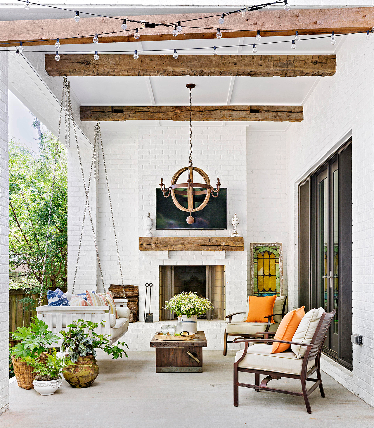 patio area with swing and rustic elements