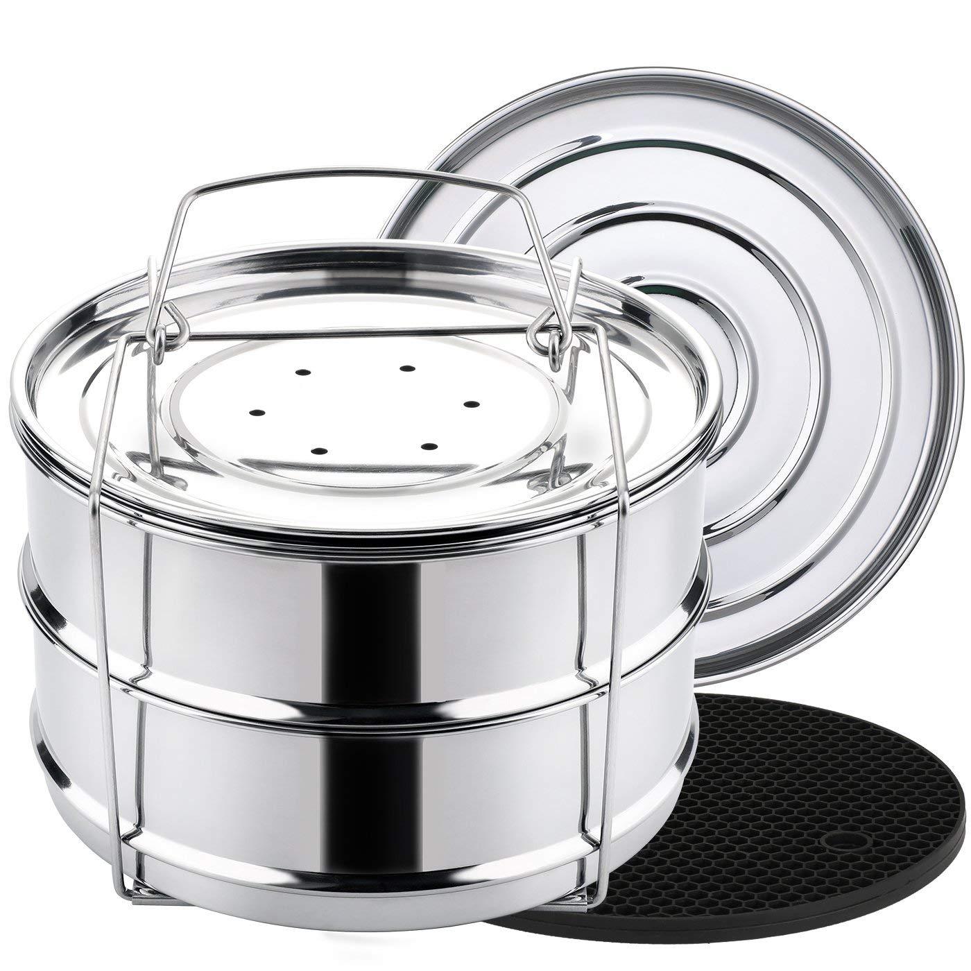 Stackable steamer pans for Instant Pot