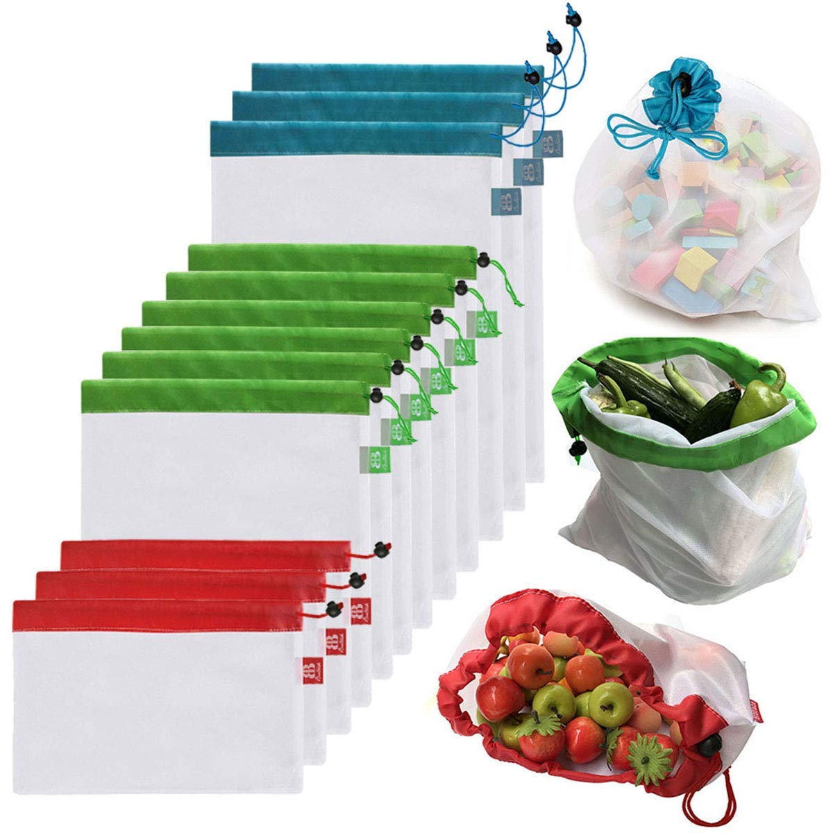 Set of 12 reusable mesh bags in three sizes