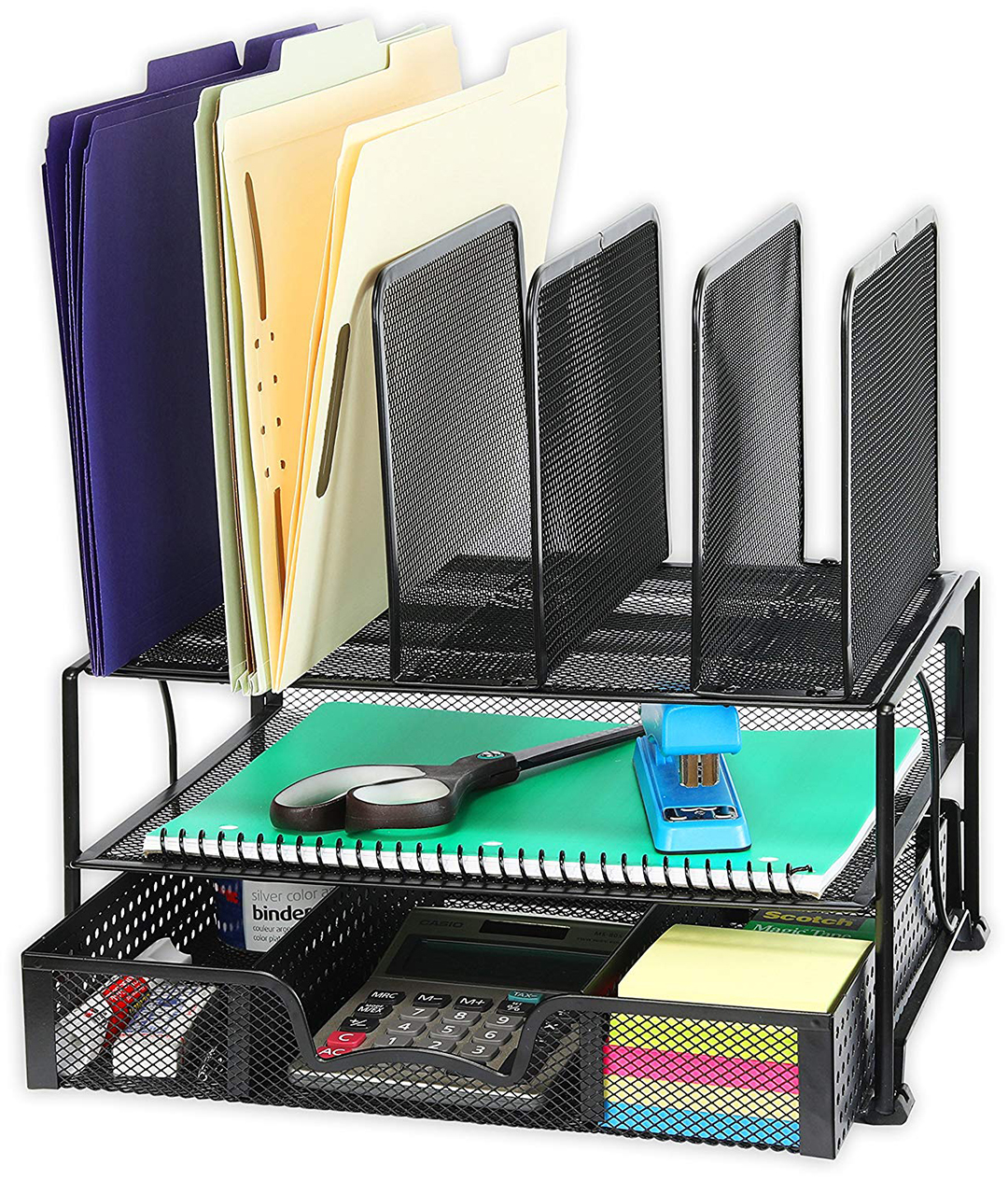 Black metal mesh desk organizer with drawer on bottom and 5 file folder spaces on top