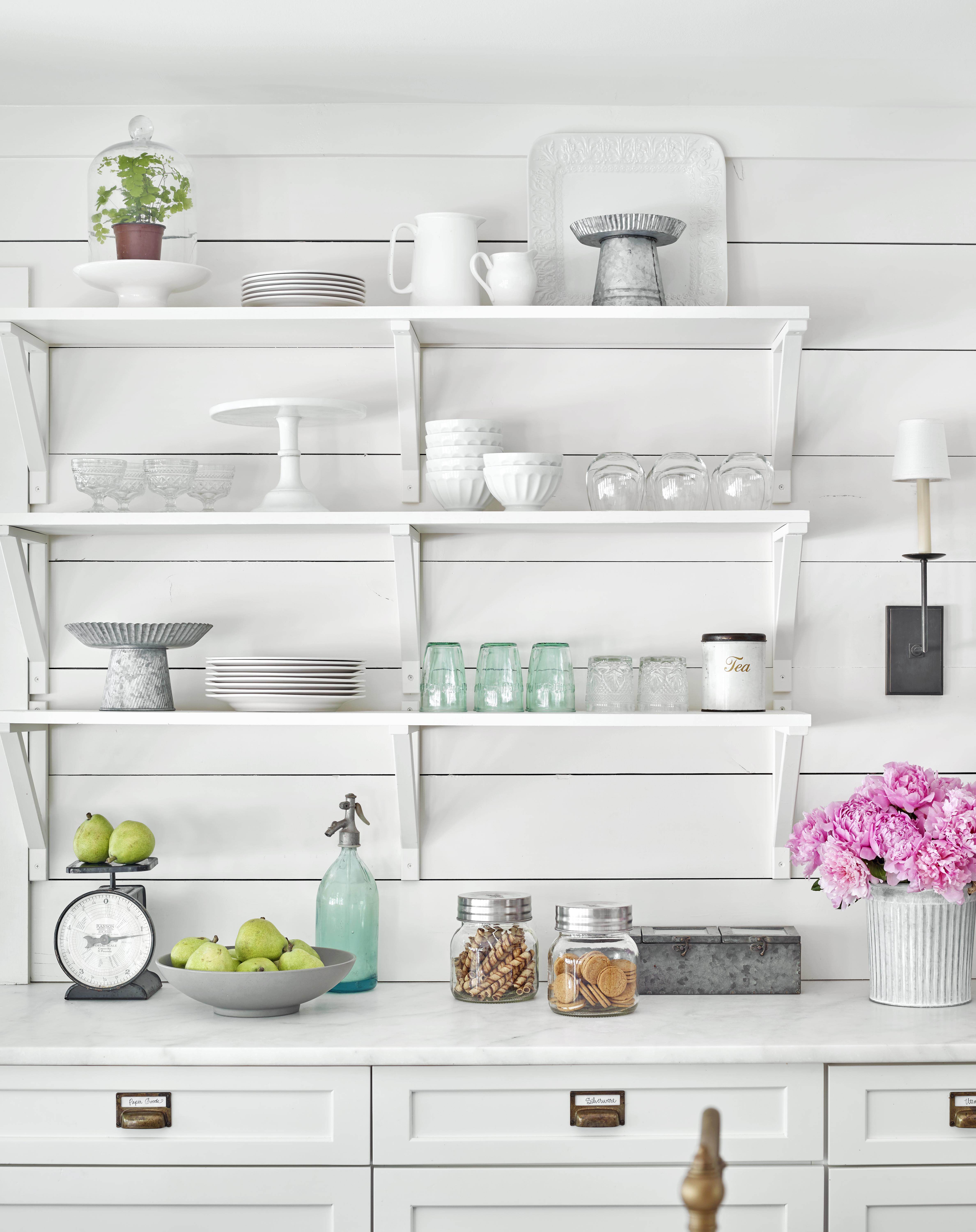 vintage contemporary kitchen white open shelving dishes