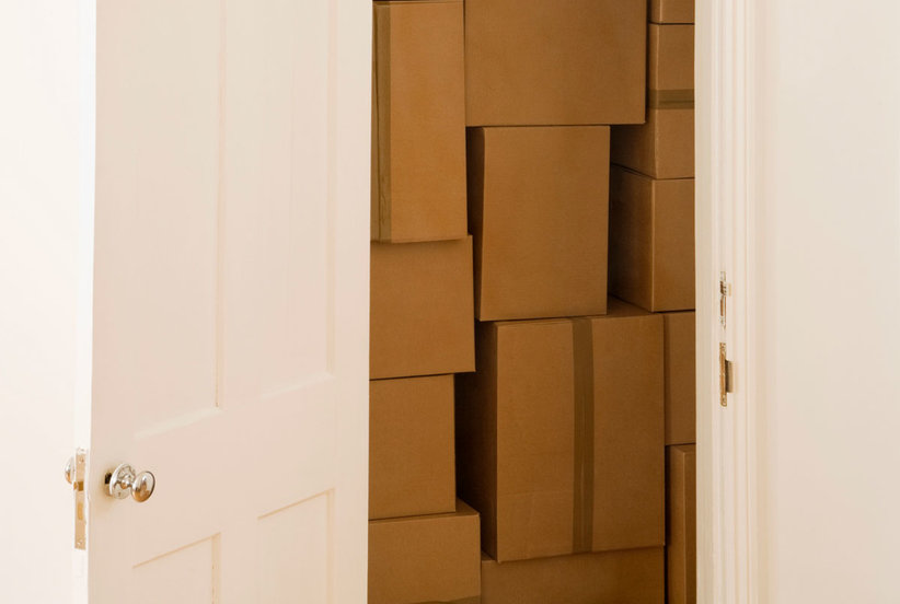 Boxes in closet