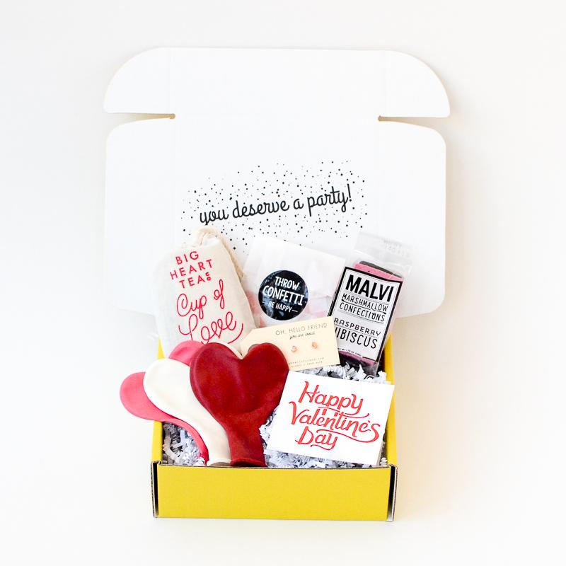 Yellow box with Valentine's Day gifts inside, Valentine's Day delivery