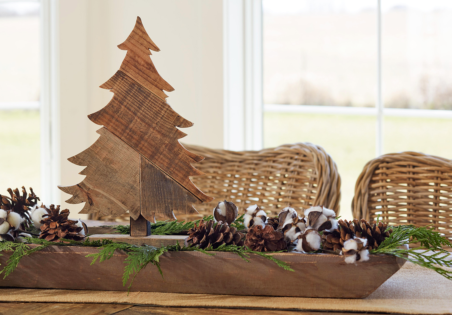 patchwork wooden christmas tree on table