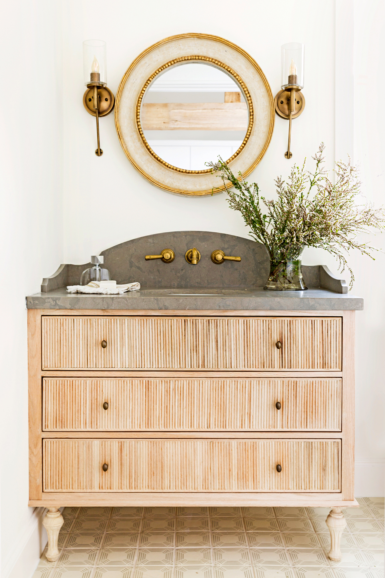 traditional bathroom vanity with neutral tones