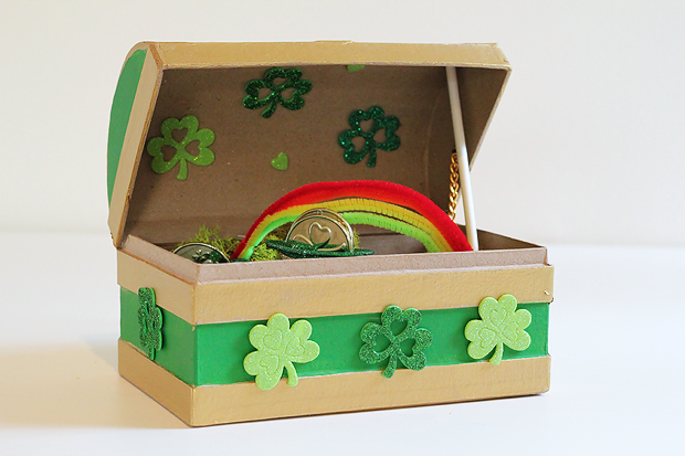 Leprechaun trap made from brown cardboard box