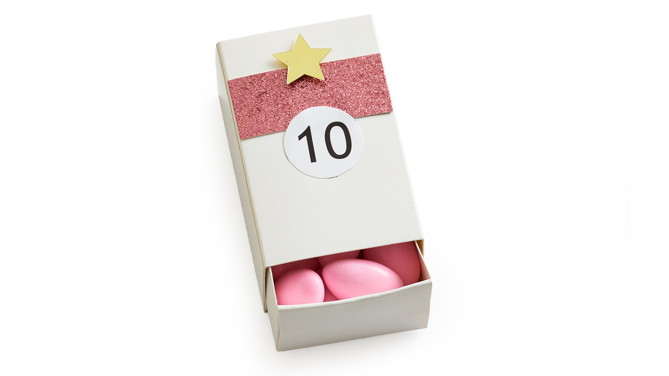 match box with pink candies day 10 of hanging advent calendar