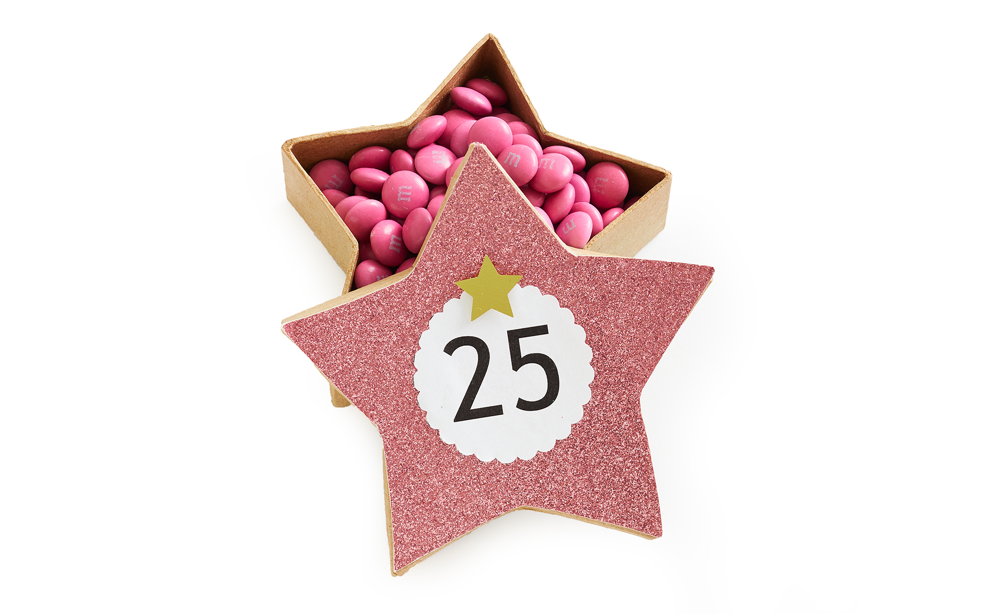 glittery star box with pink m&ms day 25 of hanging advent calendar