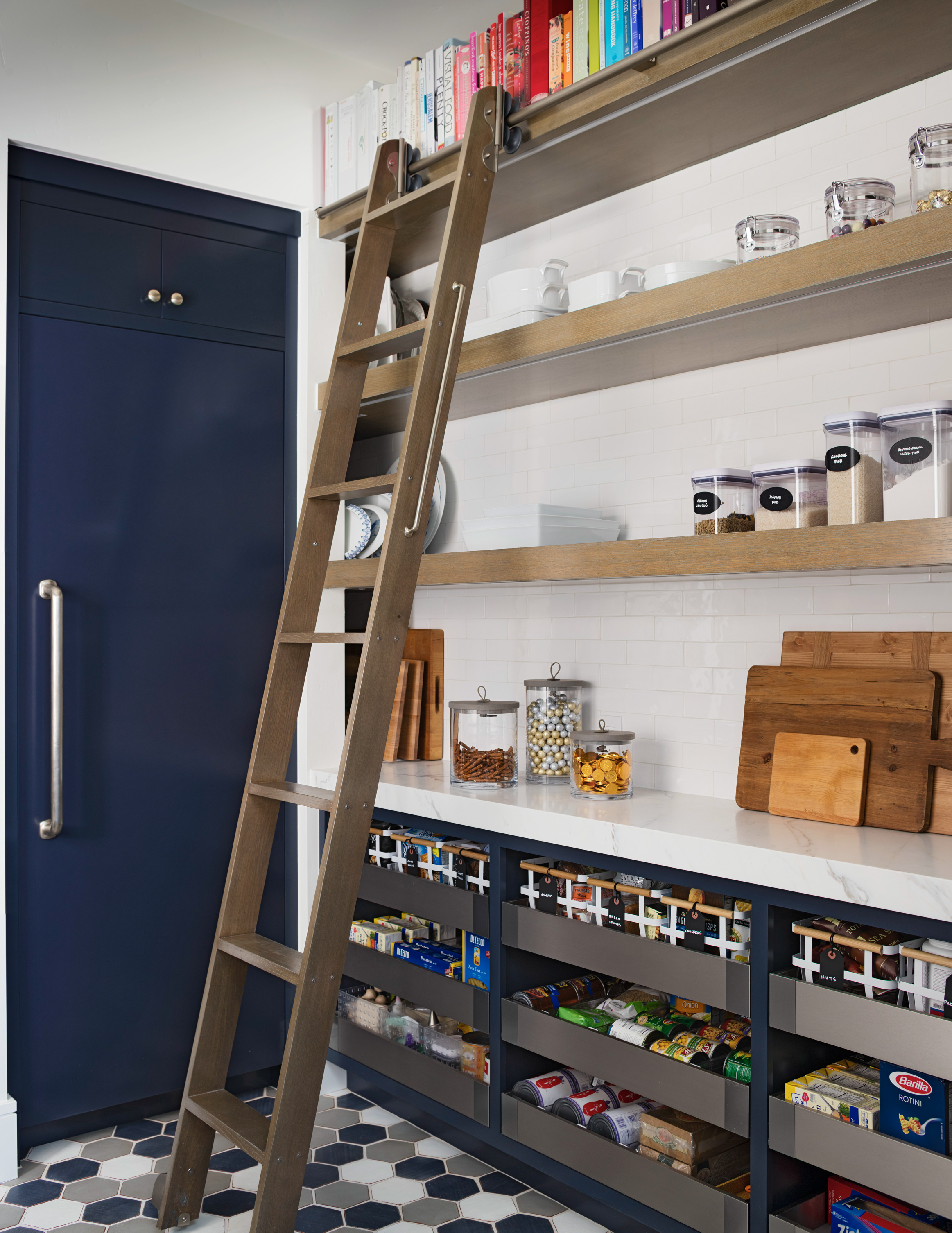 beachy home makeover pantry ladder organization