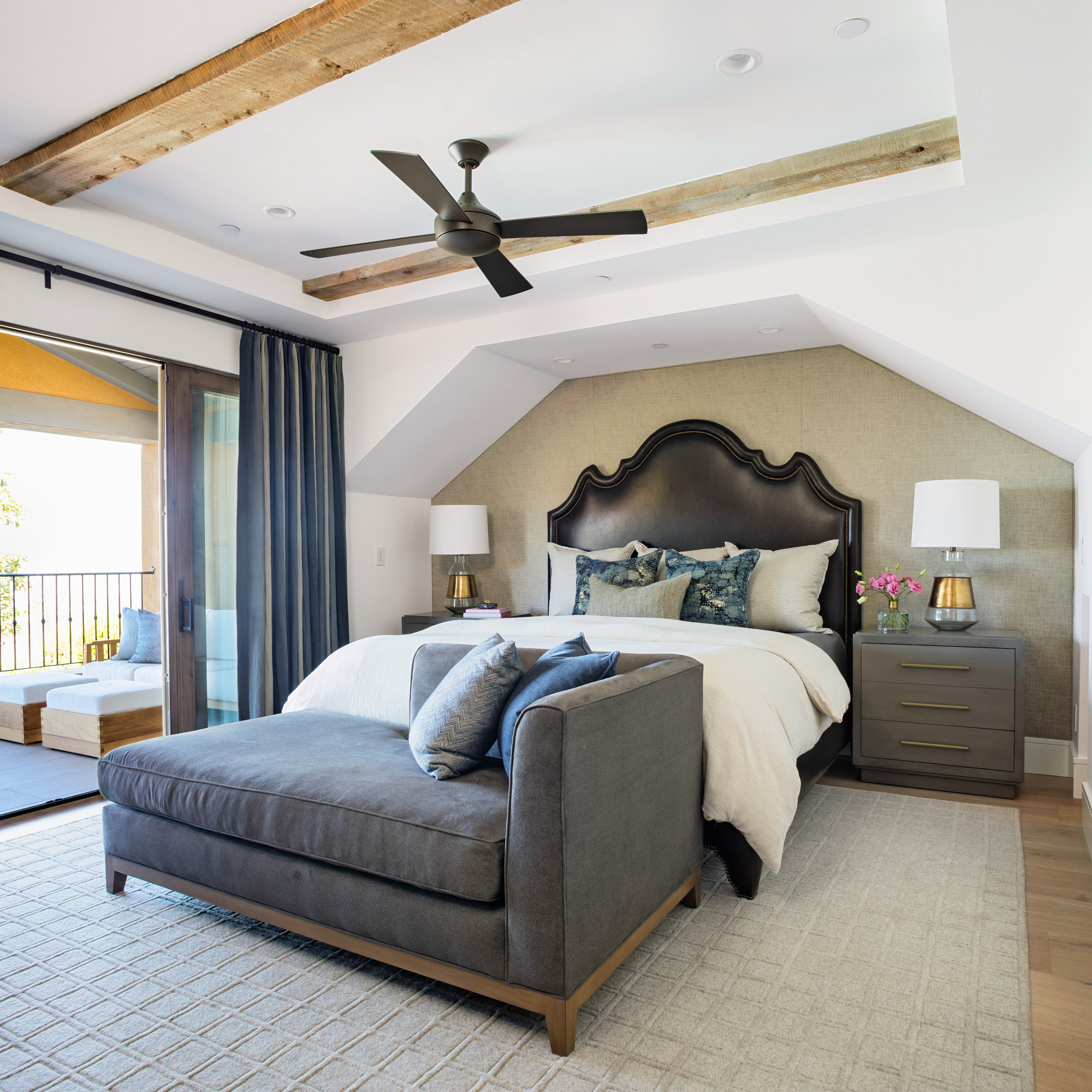 beachy home makeover master bedroom leather headboard