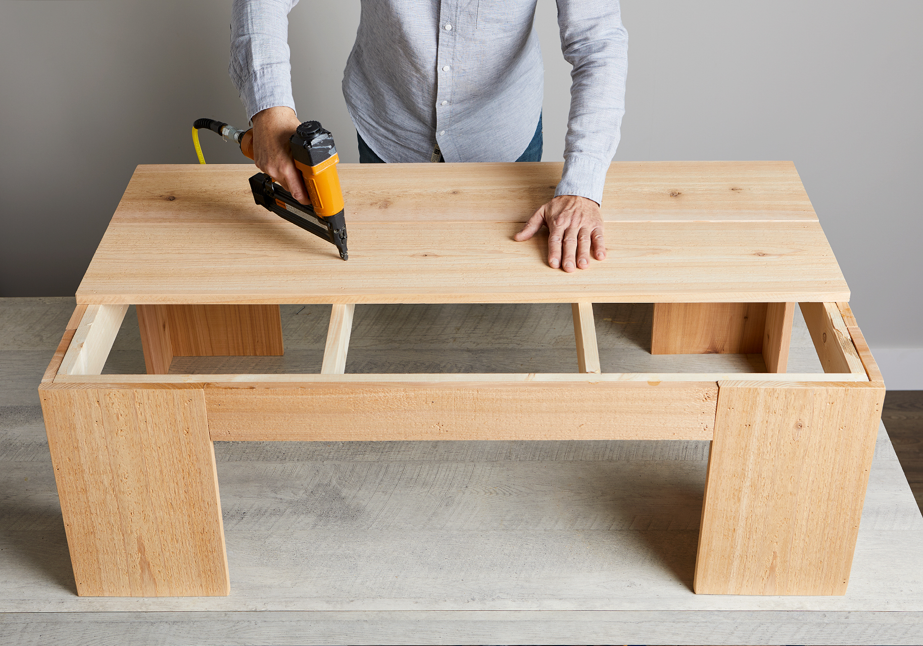 nail boards to top of farmhouse coffee table