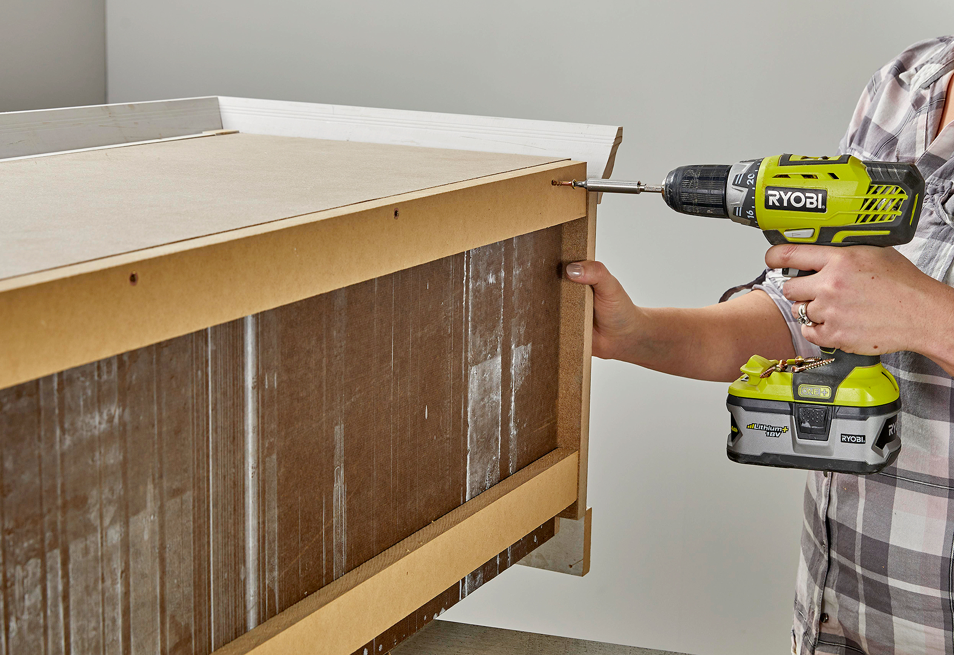 secure wood panels to back of unit