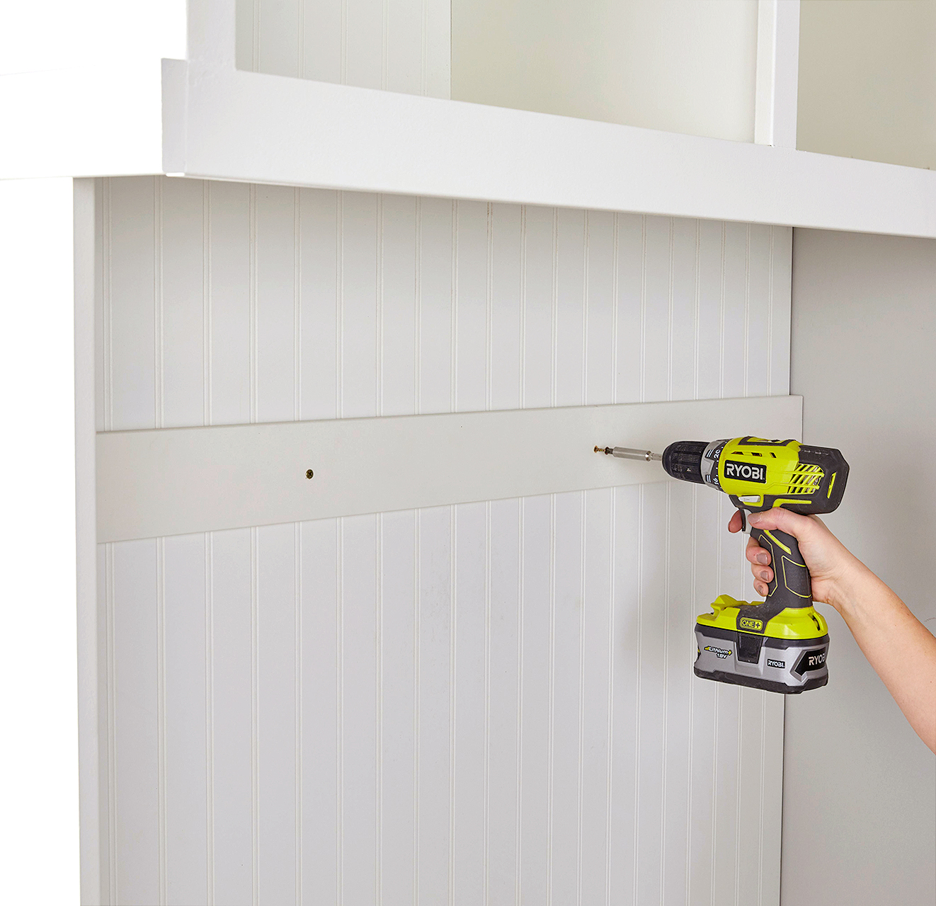 install panel atop beadboard for hook placement