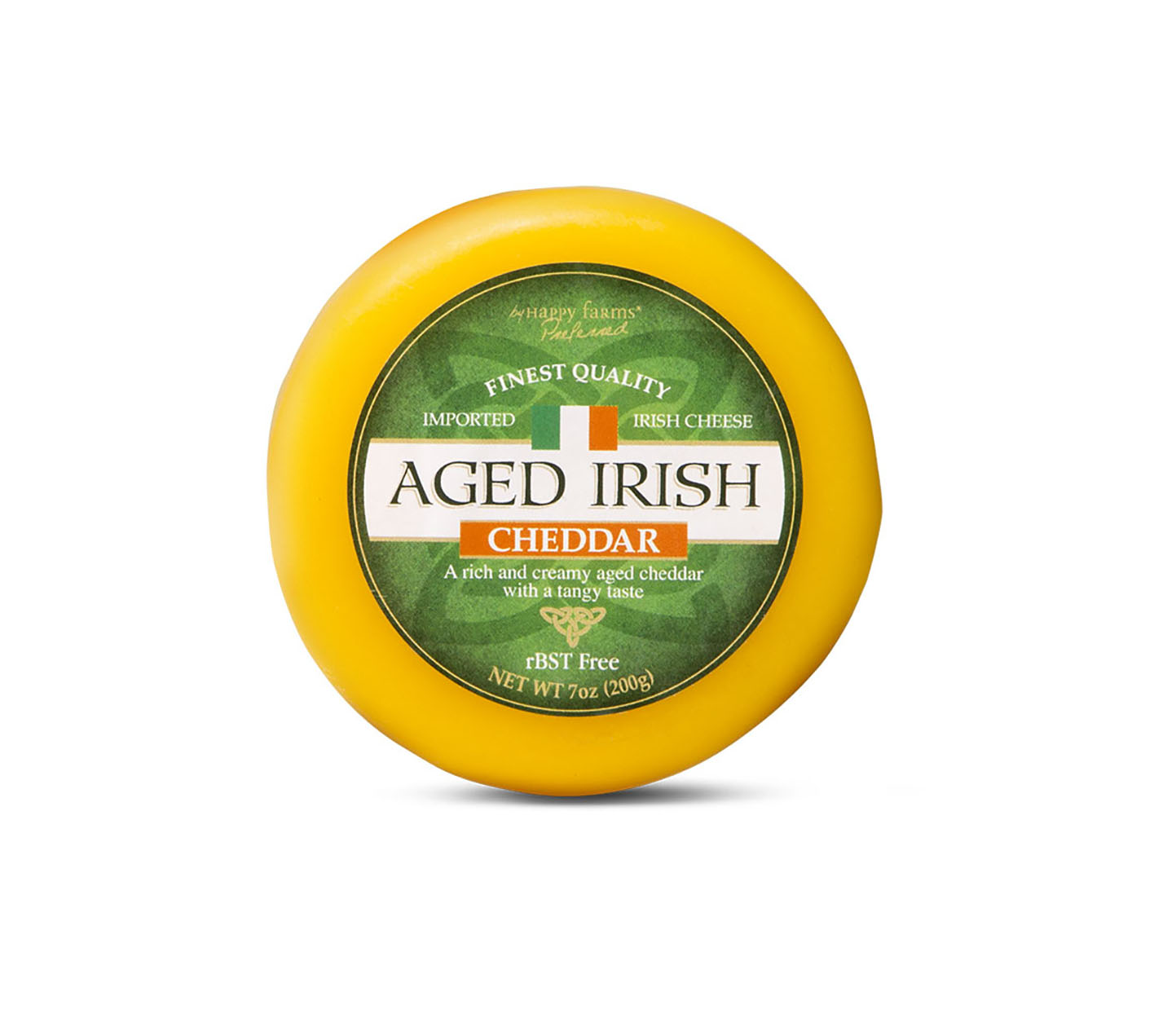 Round Aged Irish Cheddar packaged in yellow wax