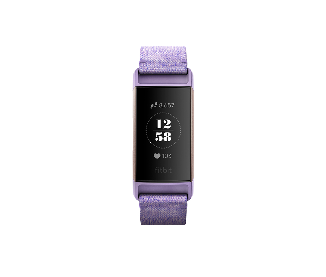 Fitbit Charge 3 activity tracker with woven purple band and rose gold accents