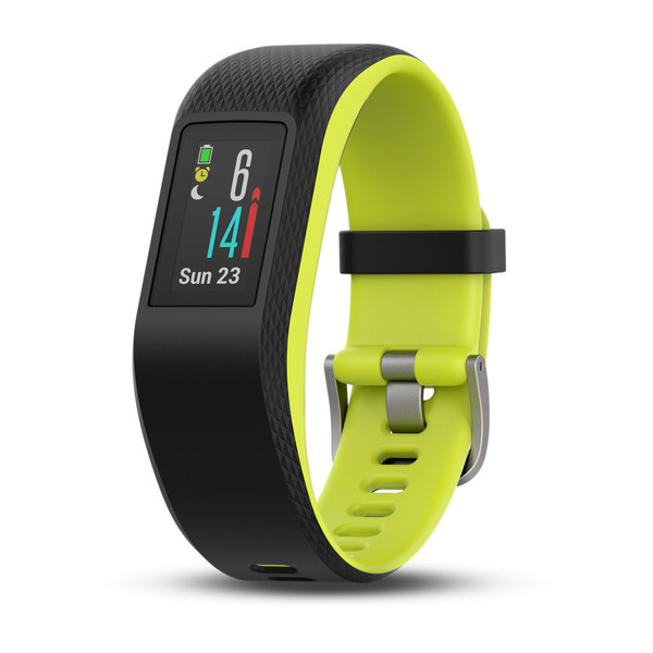 Garmin vivosport fitness tracker with black and lime green band and silver metal buckle
