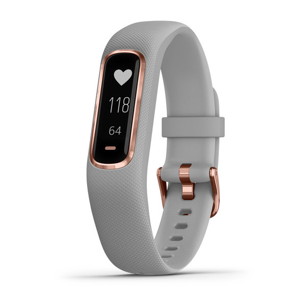 Garmin vivosmart fitness tracker with gray band and rose gold metal accents