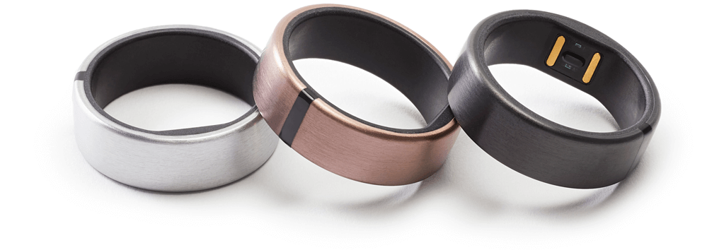 Brushed metal fitness tracker rings in silver, rose gold and black finishes