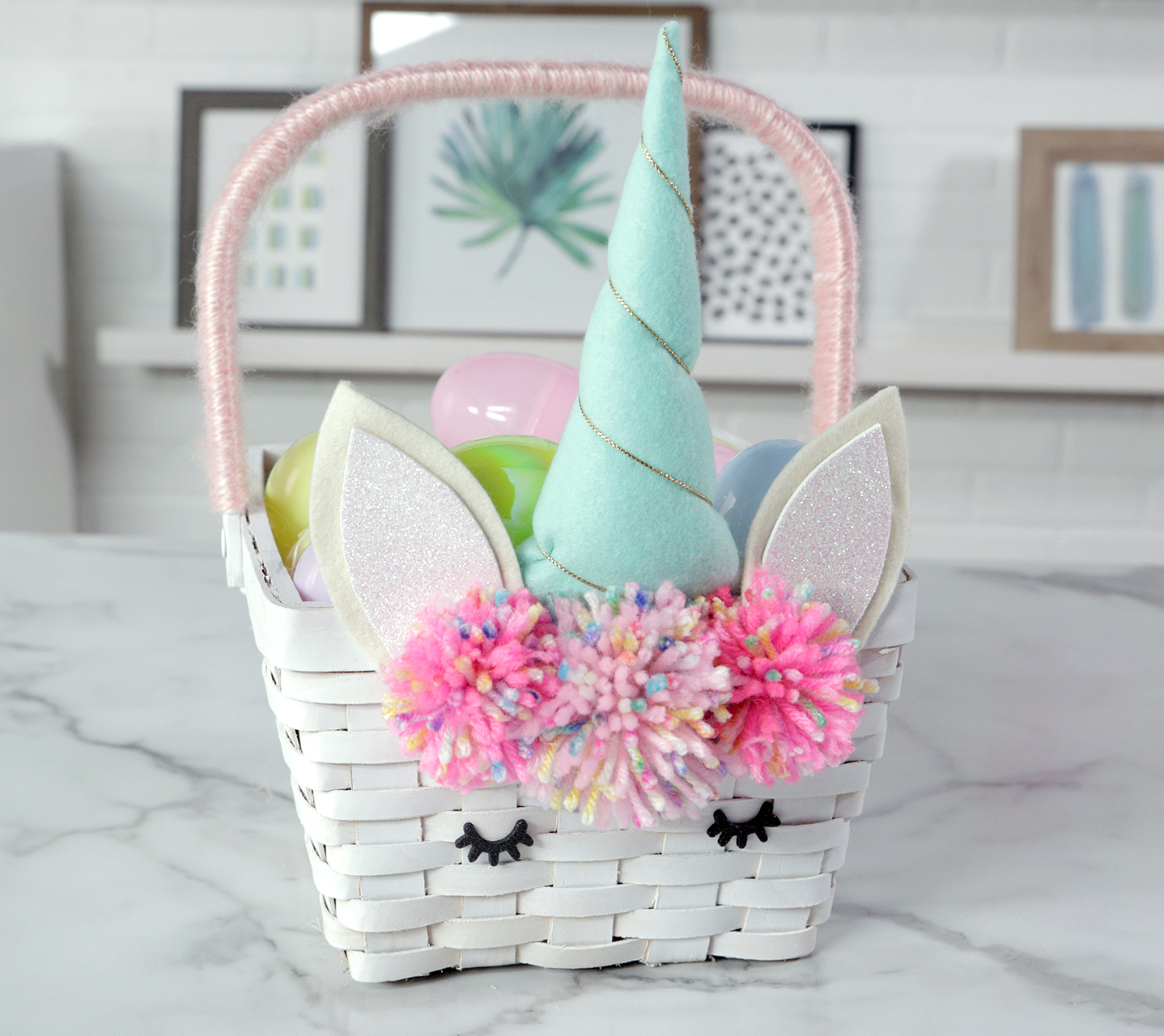 diy unicorn easter basket with yarn poms