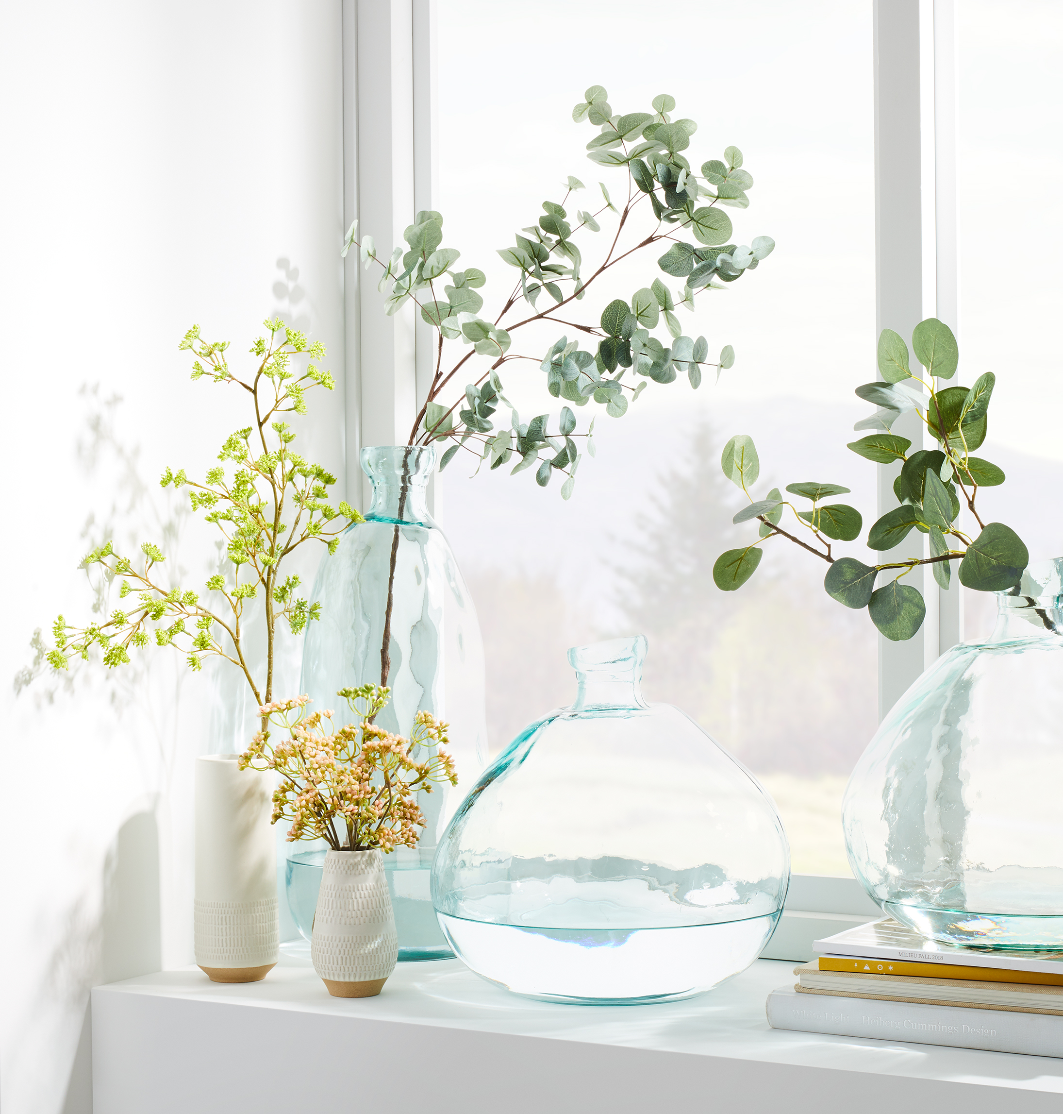 glass vases with stems