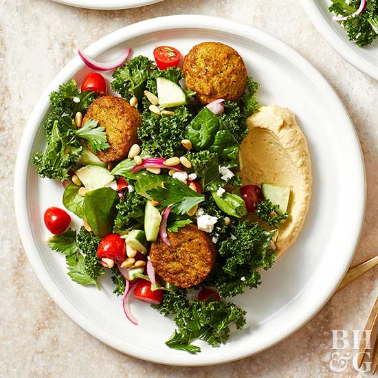 Kale and Falafel Salad with Toasted Pine Nuts