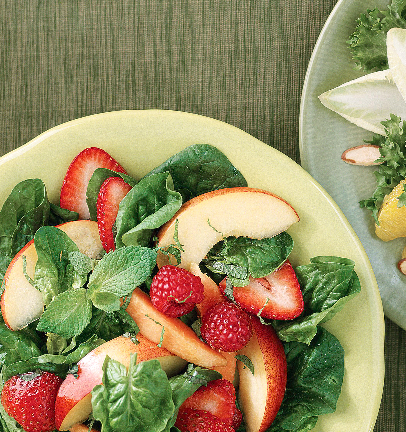 Spinach Salad with Summer Fruit and Sesame Dressing