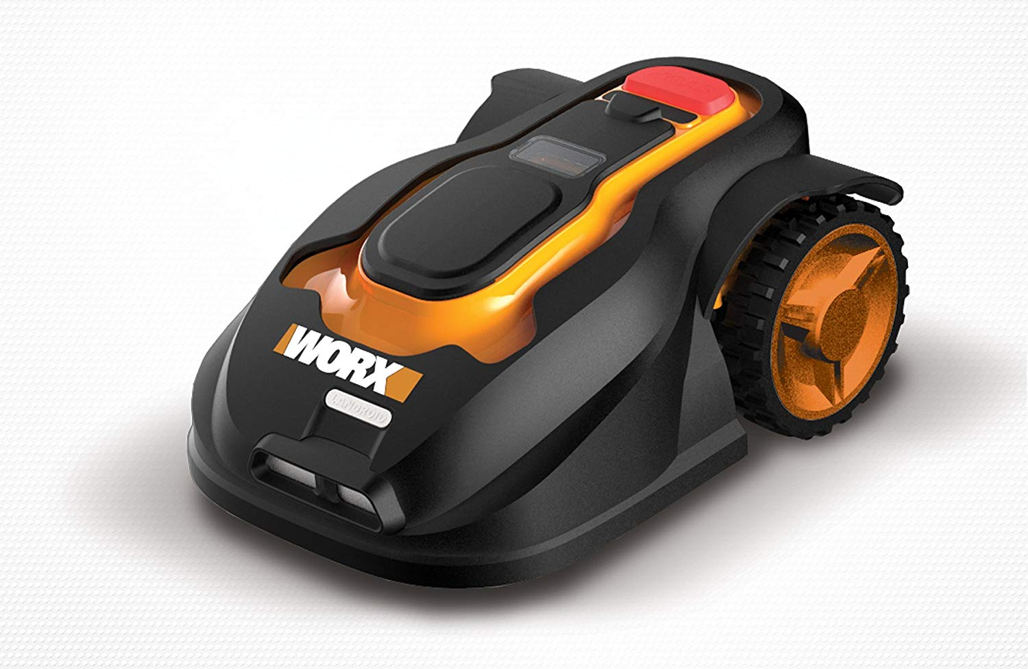Orange and black robotic lawn mower from Worx