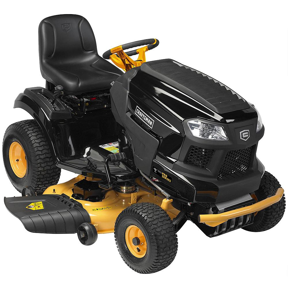 Gold and black riding lawn mower