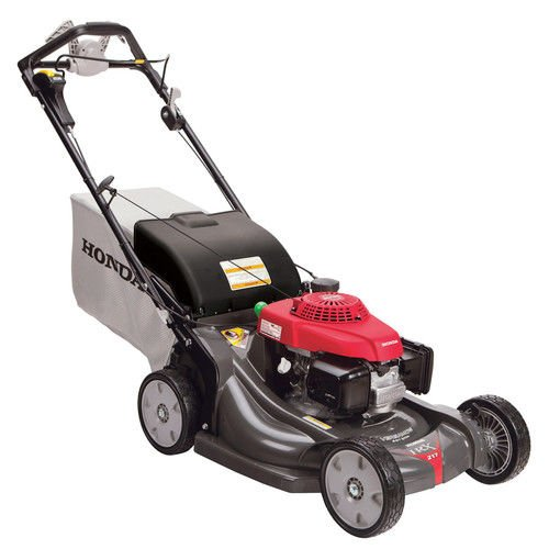 Black and red self-propelled lawn mower with white bag