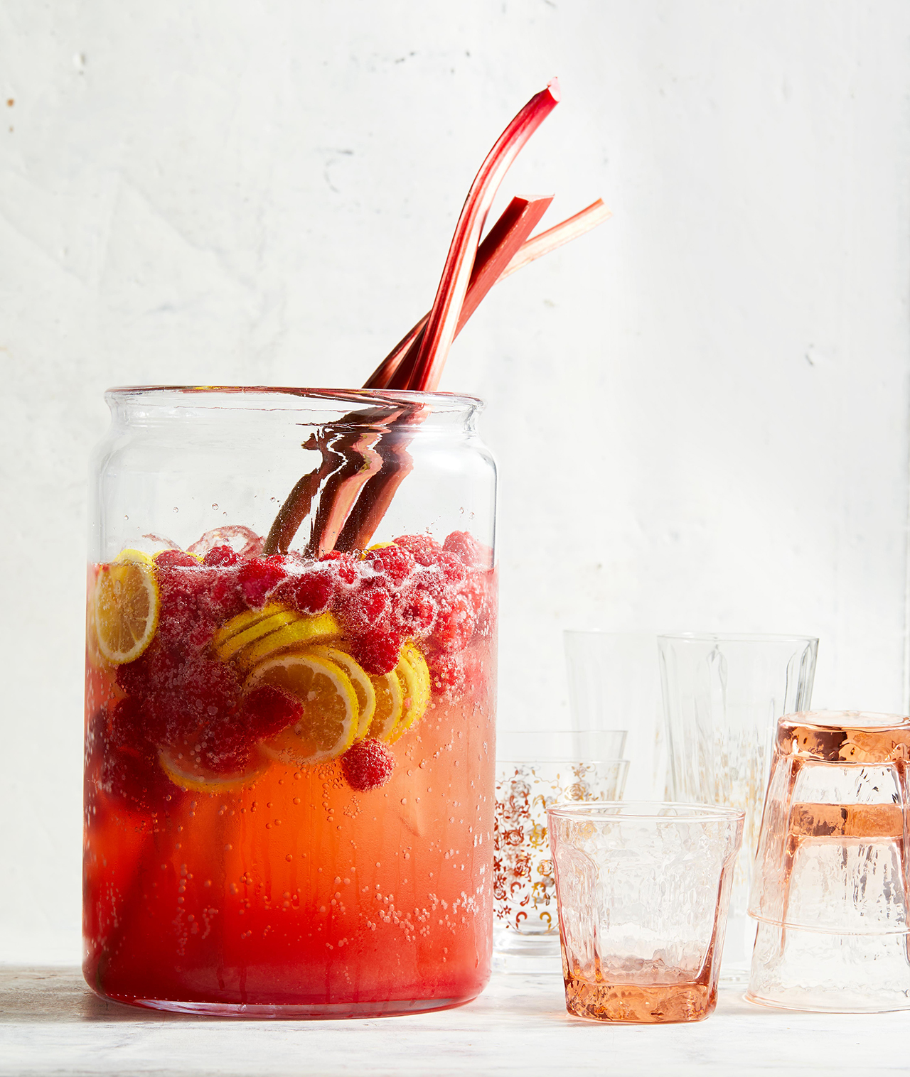 Ginger Rhubarb-Raspberry Punch