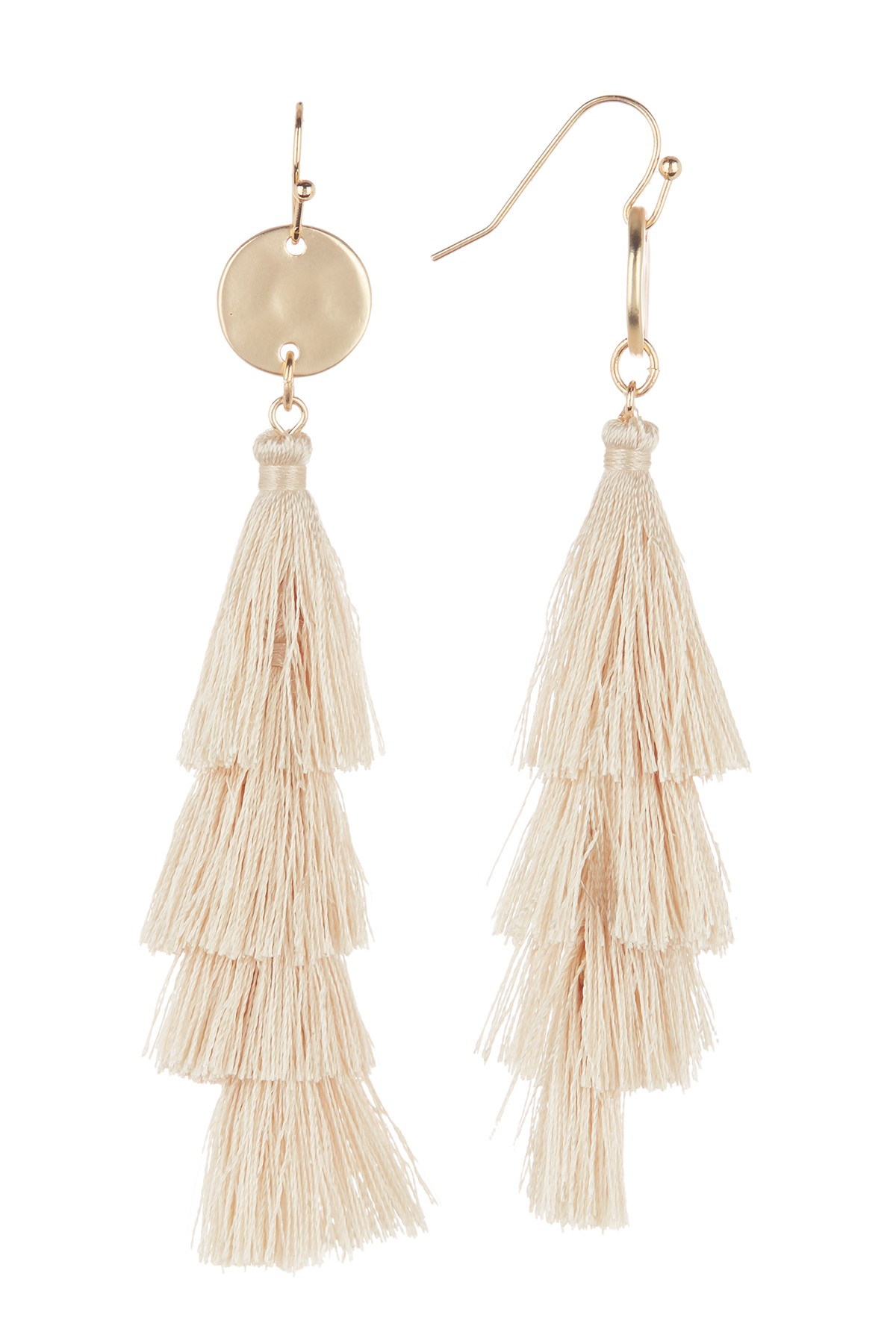 cream and gold colored tassel earrings