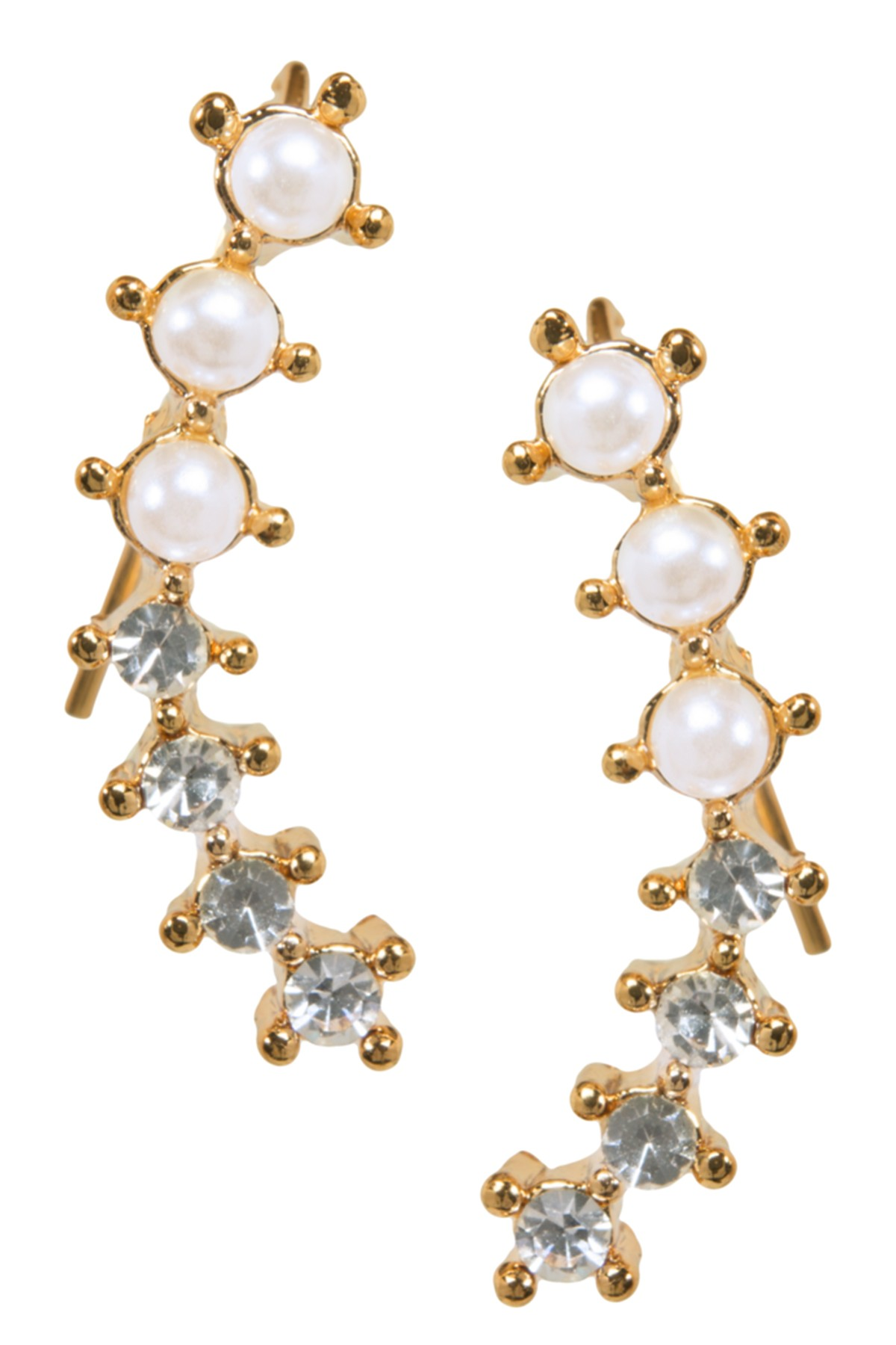 gold ear crawler earrings with diamonds and pearls
