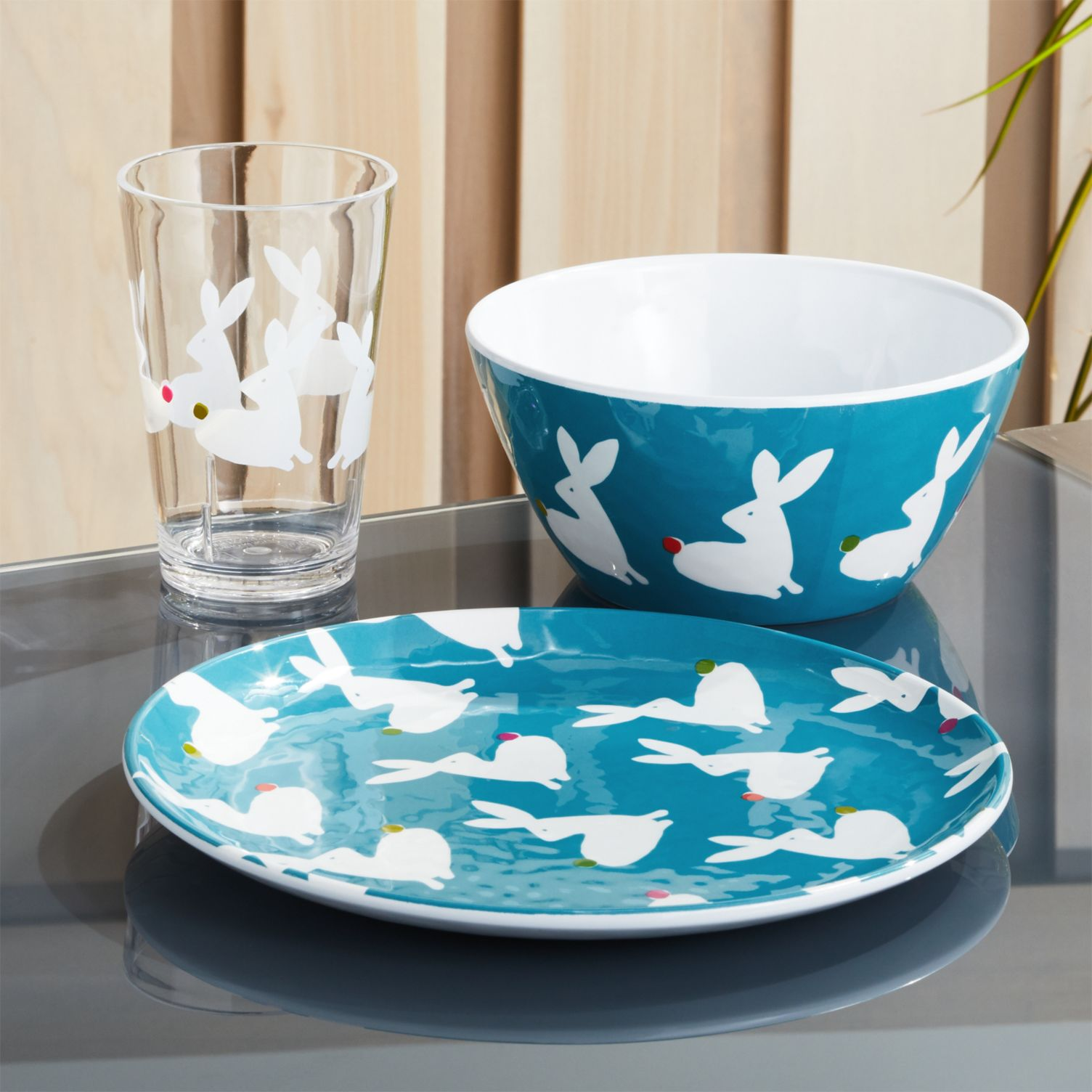 easter bunny 3-piece dish set blue plate and blow