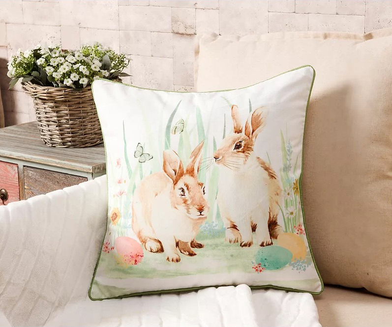 easter throw pillow with rabbits on couch